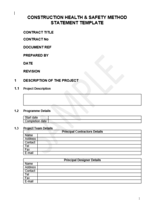 construction health & safety method statement template