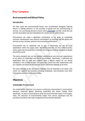 environmental and ethical policy template