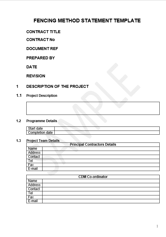fencing method statement template