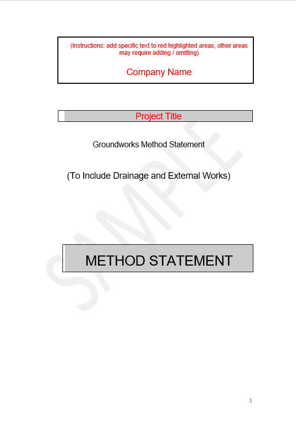 groundworks method statement template