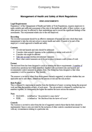 operations risk assessment template