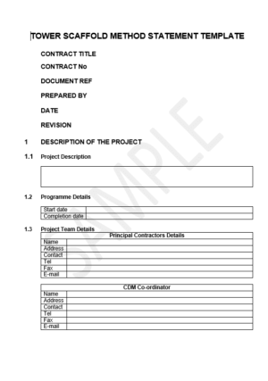 tower scaffold method statement template